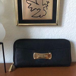 Michael Kors Black Leather Ziparound Travel Wallet